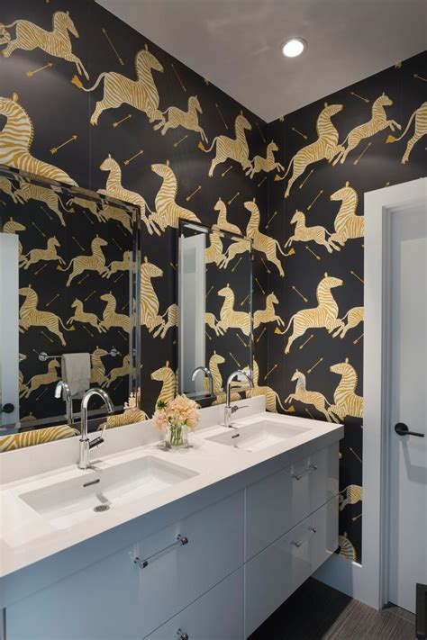 black and silver bathroom wallpaper photos hgtv