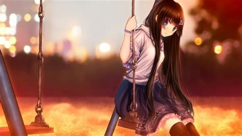 anime swing girl on a swing anime fans wallpapers and images