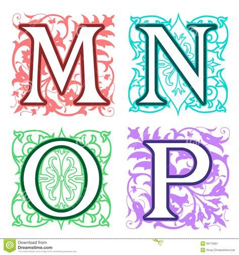 m n o p alphabet letters floral elements stock vector image 33779301