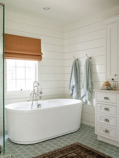Tile Shiplap Blue Gray Subway Tiles Cottage Bathroom Liess