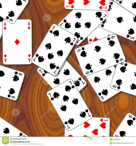 wood pattern card stock playing cards scattered on the wooden table seamless