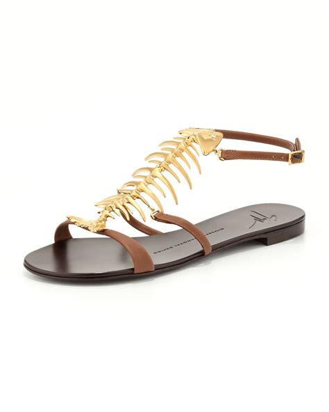 Jones Fish Sandals At Begdorf by Giuseppe Zanotti Fish Bone Flat Sandal In Brown Lyst