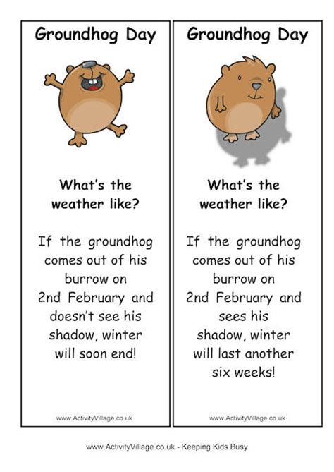 groundhog day meaning for preschoolers groundhog day bookmarks