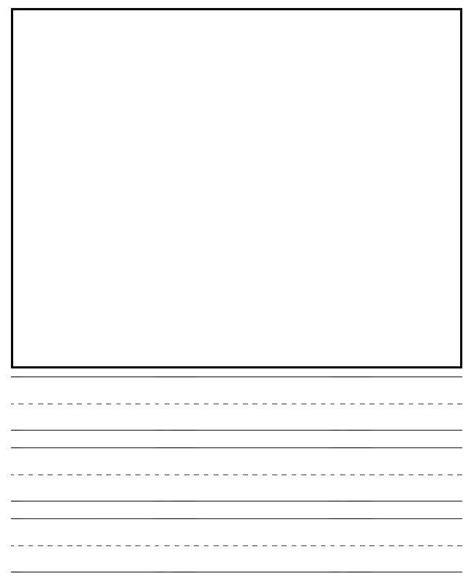 printable lined paper with drawing box 6 best images of printable primary writing journal paper