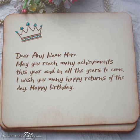 What To Write On Birthday Cards Write Name On Royal Birthday Wish Happy Birthday Wishes