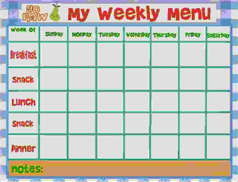 7 Weekly Menu Template Procedure Template Sle Meal Menu Template