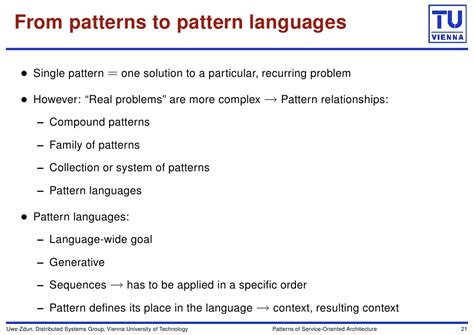 pattern language is generative patterns of service oriented architecture