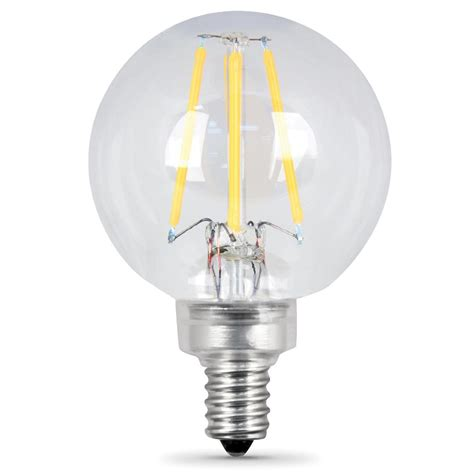 Led Lights And Bulbs Feit Electric 60w Equivalent Soft White G16 5 Dimmable Clear Filament Led Candelabra Base Light