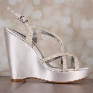 Ivory Wedding Wedges by Ivory Wedding Shoe Wedges Strappy Sandal Bridal Heels