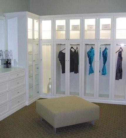 Walk In Closet With Custom Dresser Glass Door Inserts To California Closet Doors