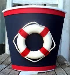 nautical boat wastebasket navy blue red white child baby bedroom nursery storage ebay