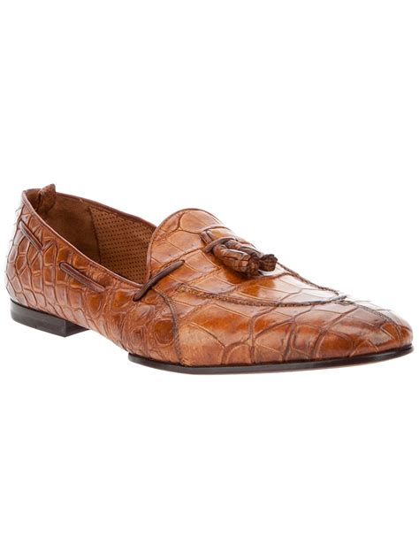 crocodile leather loafers lyst raparo crocodile leather loafer in brown for