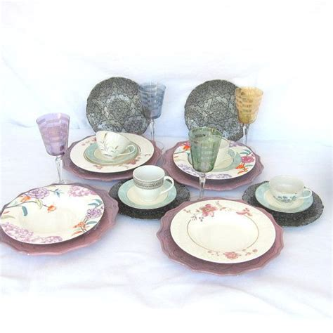 shabby chic 4 place setting dinnerware set 24 pieces
