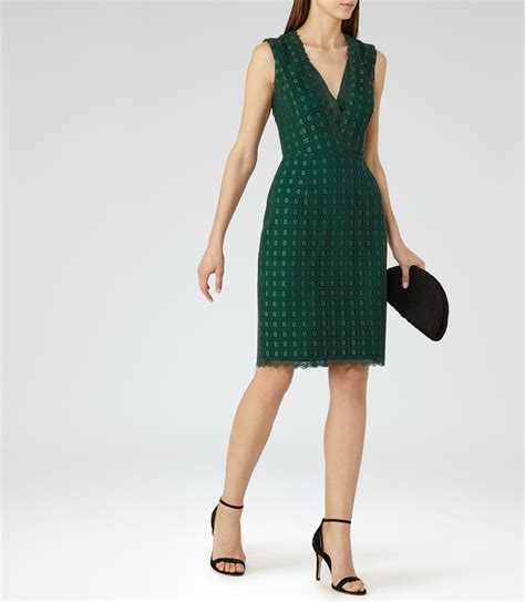 Dress Eris reiss eris lace dress in green lyst