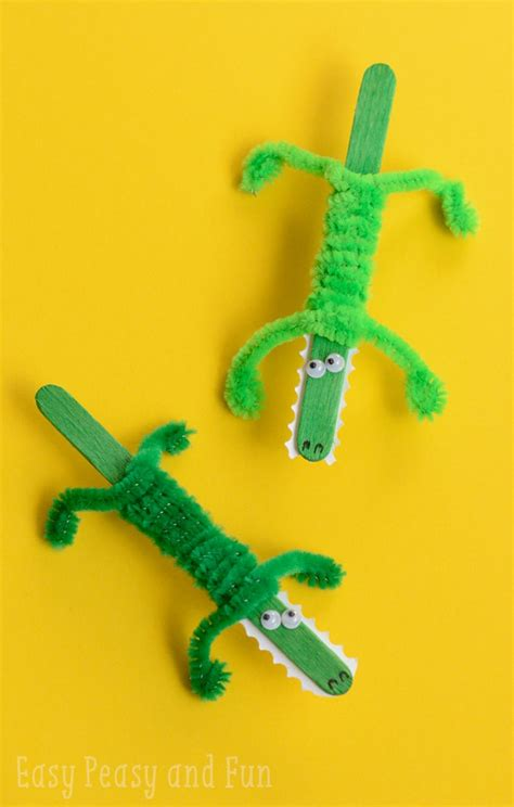 stick crafts for craft stick crocodile craft easy peasy and