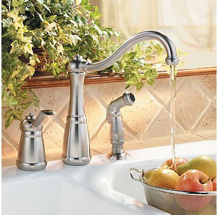 price pfister gt26 3nss marielle stainless steel single stainless steel marielle 1 handle kitchen faucet lg26