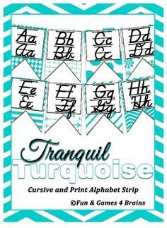 printable cursive alphabet banner free chevron cursive alphabet banner one happy teacher