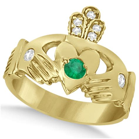 green emerald ring claddagh 14k yellow