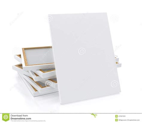 mock up blank canvas or poster with pile of canvas on