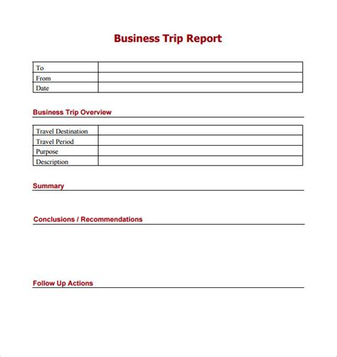 Business Travel Report Template trip report template 7 free sles exles formats