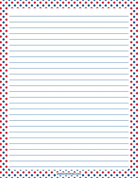 printable flag stationery printable patriotic red white and blue polka dot