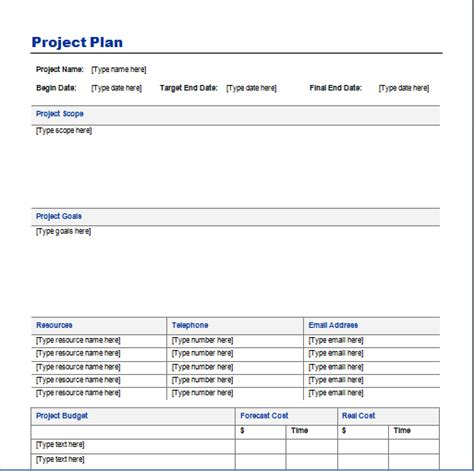template for a project plan project plan template free layout format