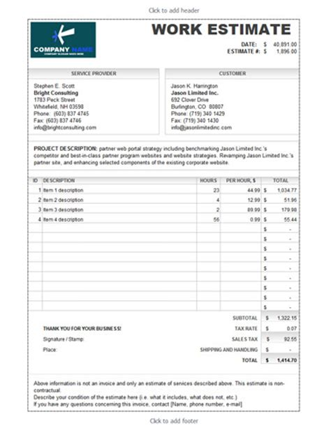construction estimate template free download here