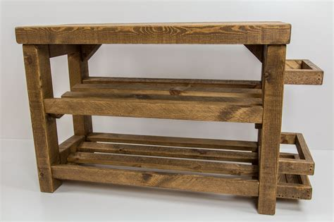 Rustic Shoe Rack by Rustic Wooden Shoe Rack With Seat And Umbrella Stand 6 9