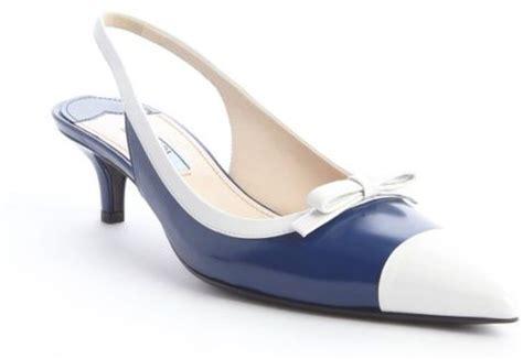 Prada Kitten Heel Slingbacks by Prada Cobalt Blue Leather Pointed Toe Kitten Heel