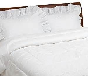 amazon com white poly cotton eyelet comforter set queen
