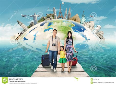 A Trip To The by Happy Family Take A Trip To The World Monument Stock Photo