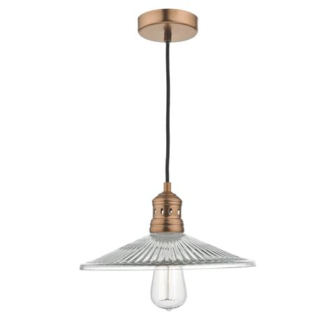 Pendant Lighting Adelaide Dar Ade0164 Adelaide Pendant In Brushed Copper And Fluted Glass