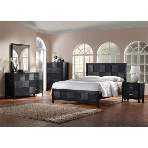 5 piece king size bedroom set montserrat black wood 5 piece king size modern bedroom set see white