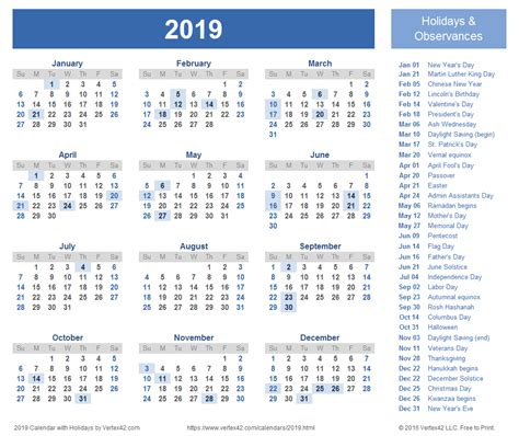 Calendar 2019 Printable With Holidays 2019 Calendar Templates And Images