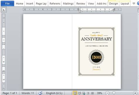 note card template powerpoint how to create a printable anniversary gift certificate