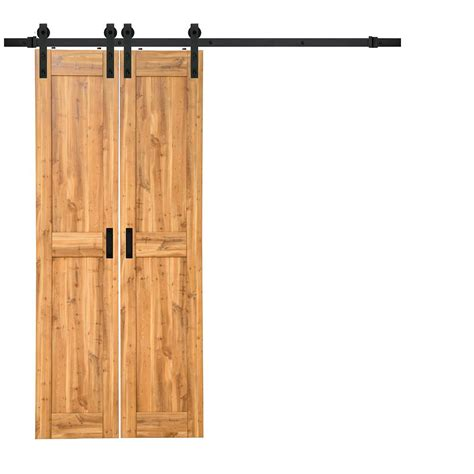 Closet Door Kits Truporte 18 In X 84 In Pine Duplex Mdf Barn Door With Sliding Door Hardware Kit Bp124w01pi2pig