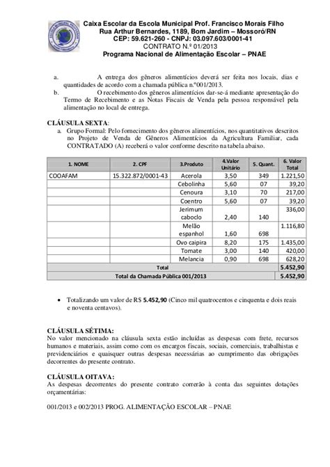 contrato escolar contrato 01 2013 merenda escolar