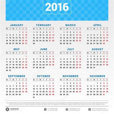 Calendario 2016 Con Settimane Calendario 2016 Vector Design Template Settimana Inizia