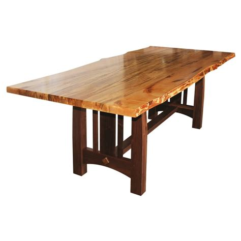 Wormy maple live edge table solid hardwood furniture locally handcrafted tables country