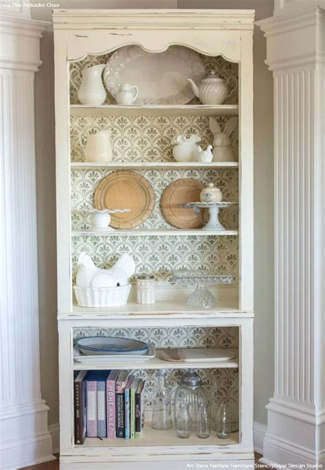 how to paint a shabby chic bookcase furniture stencils chalk paint royal design studio