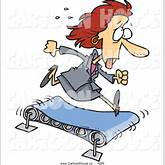 Cartoon Vector of a Sweating Hard Working Business Woman Running on a ...