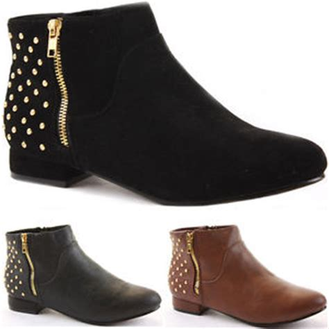 womens ankle boots pixie studded studs flat low