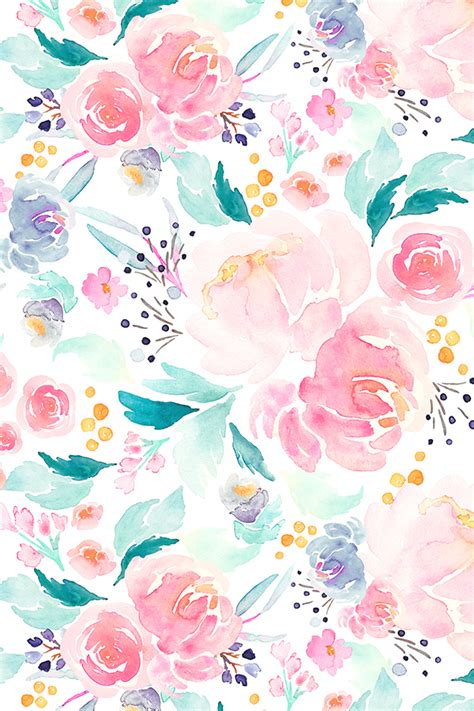 pastel flower pattern wallpaper mermaid floral by indybloomdesign flower wallpaper