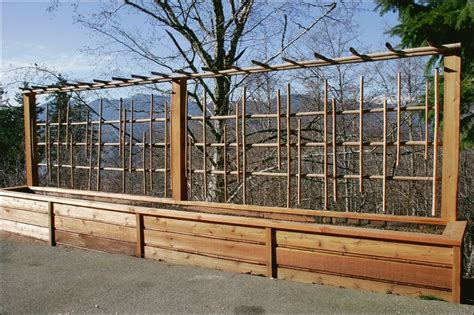 Large Garden Planters With Trellis by Planter Box Trellis Retaining Wall Cedar And Bamboo
