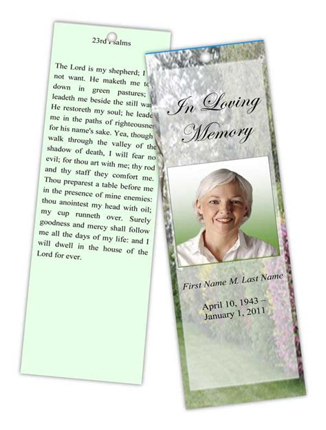 funeral program templates memorial bookmark spring
