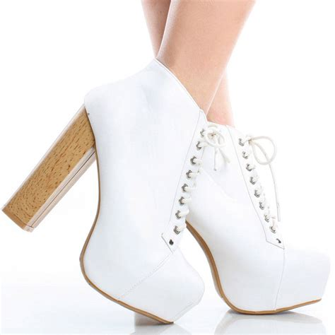 white high heel booties white lace up chunky high heel platform ankle