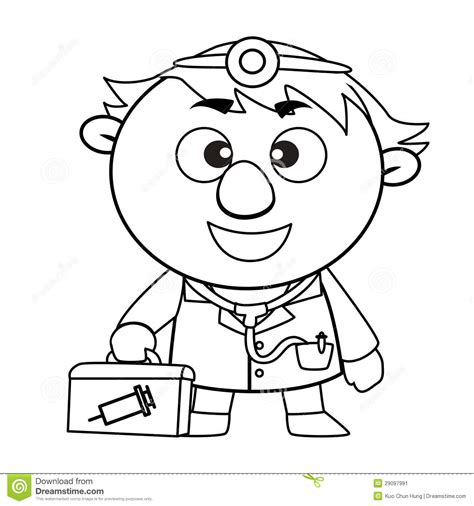 cute doctor coloring page outlined cute doctor stock image image 29097991