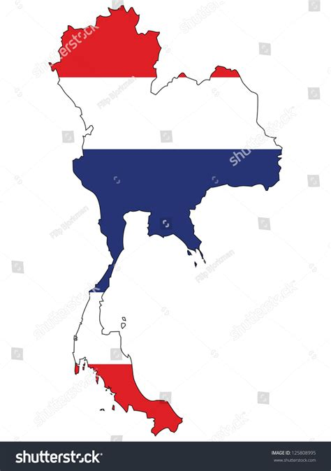 vector map thailand thailand vector map flag inside stock vector 125808995