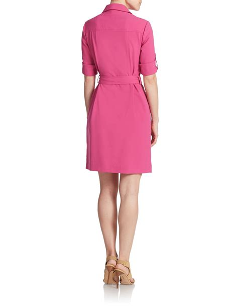 michael michael kors belted roll sleeve shirt dress in