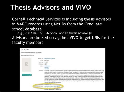 find thesis advisor linked data for libraries experiments between cornell